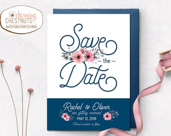Navy and blush Save the Date Printable Navy Save the Date, Save the Date Cards, Navy wedding, navy blue wedding