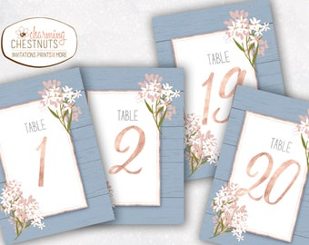 Dusty Blue wedding table numbers, rustic table numbers, wedding numbers, wedding table number, wedding table decor, blue wedding, blush pink