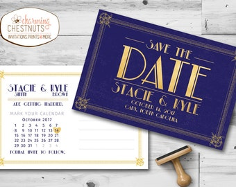 Art Deco Save the Date, Gatsby wedding, Save the date postcard, Gatsby invitation, Navy and gold, 1920 wedding, printable save the date