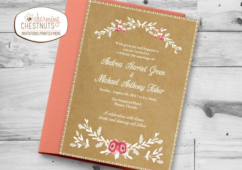 White ink invitation Elegant Barn wedding invitation Barn wedding Floral wed Rustic Wedding Invitation Set Kraft Paper wedding invite