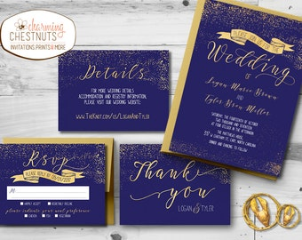 Gold and navy Wedding Invitation Set gold Printed Invitation, navy Printable wedding invite, affordable wedding, elegant gold and navy