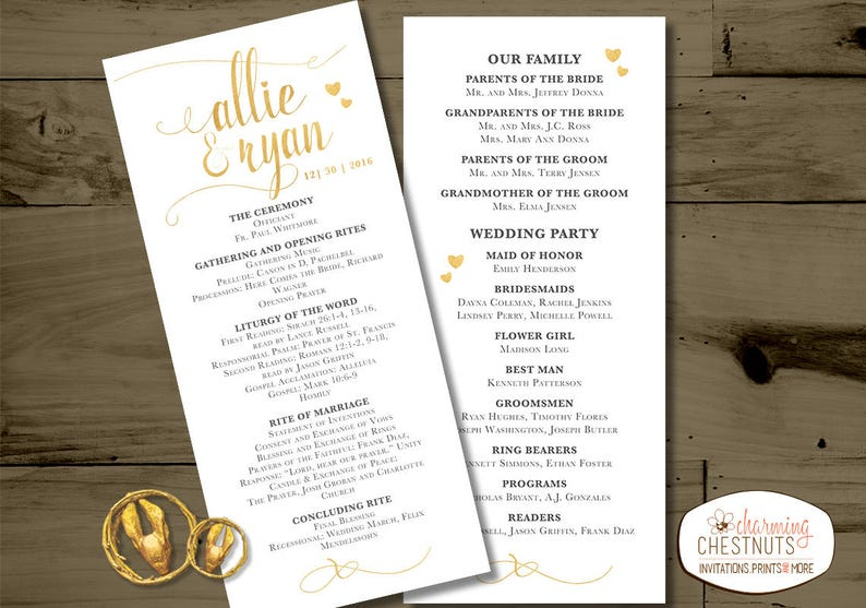 Wedding programs Printing Service Add on service to design Professional Printing High quality program and card prints
