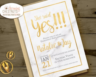 Marble and gold Engagement Party Invitation, She said yes, Engagement Invite, Elegant engagement, Luxury invitation, Gold engagement, marble