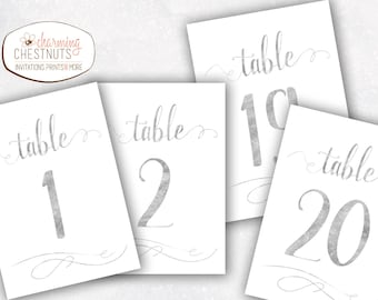 Silver Table Numbers, Wedding Table number, Silver wedding, 25th wedding, Gold table numbers, wedding table decor, diy table numbers, Silver