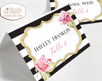 Wedding Place cards, Black stripe place card, Spade inspired, escort cards, Bridal shower, black and pink, spade bridal shower, printable
