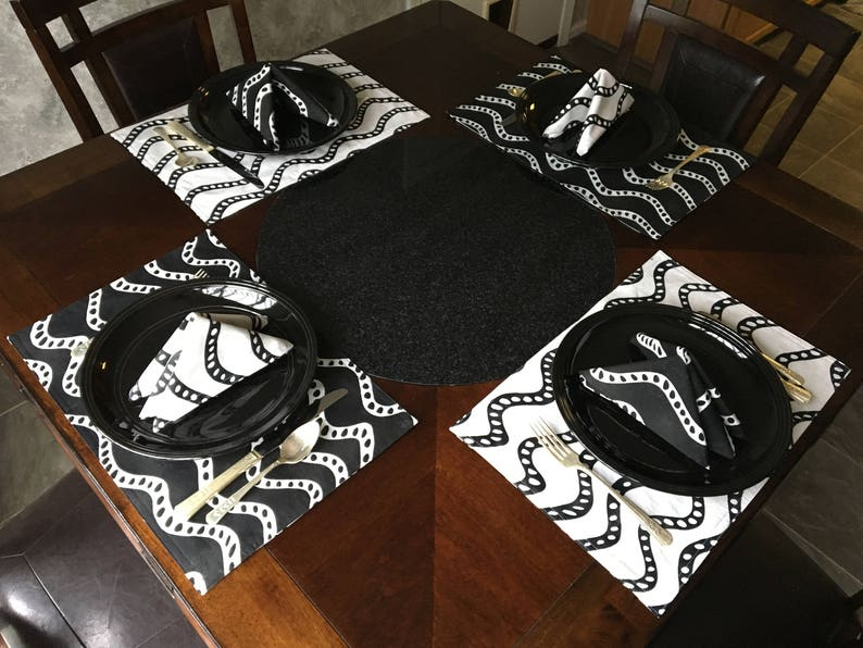 Table Linens Lined Cloth Napkins Cloth Placemats White on Black Black on White Placemats and Napkins Reversible