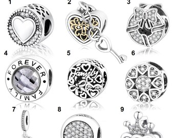 4cde3187c 925 Sterling Silver Authentic 100% Charms,Sterling Silver Beads,Fit Pandora  Bracelet,Pendant,Heart Charm,Family Charm,Love Charm For Gift
