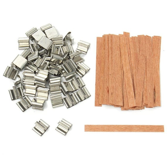 50pcs Wood Candle Wicks Base Stand Iron Clip Set for Wax Candle Making Supplies