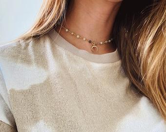 Golden Crescent Horn Amazonite Choker Necklace
