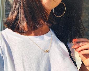 Dainty Gold or Silver Diamond Eye Snake Necklace