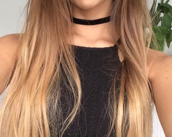 Thick Black Suede Choker