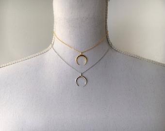 Gold or Silver Shimmer Crescent Horn Choker Necklace