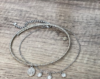 Bright Silver Mary Coin Pendant Choker Necklace Set