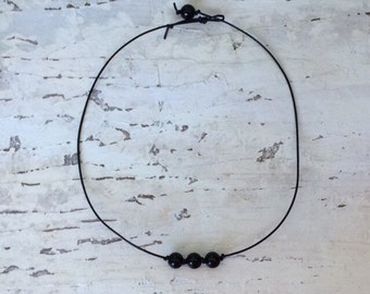 All Black Everything Three Pearl Choker, Black Choker Necklace, Black Necklace, Gift for her