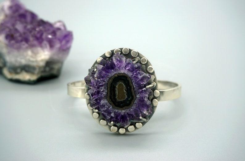 Dark Purple Amethyst Stalactite Bangle Bracelet
