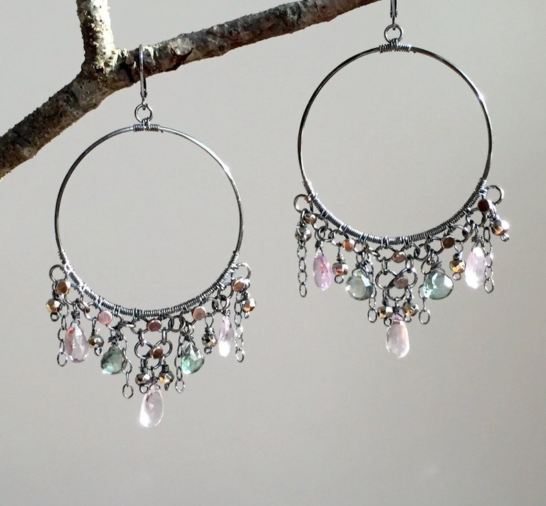 Pink Amethyst /& Mystic Quartz Big Hoop Earrings