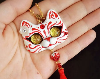 Kitsune Mask Inspired Cat OOAK Necklace Pendant With red charm
