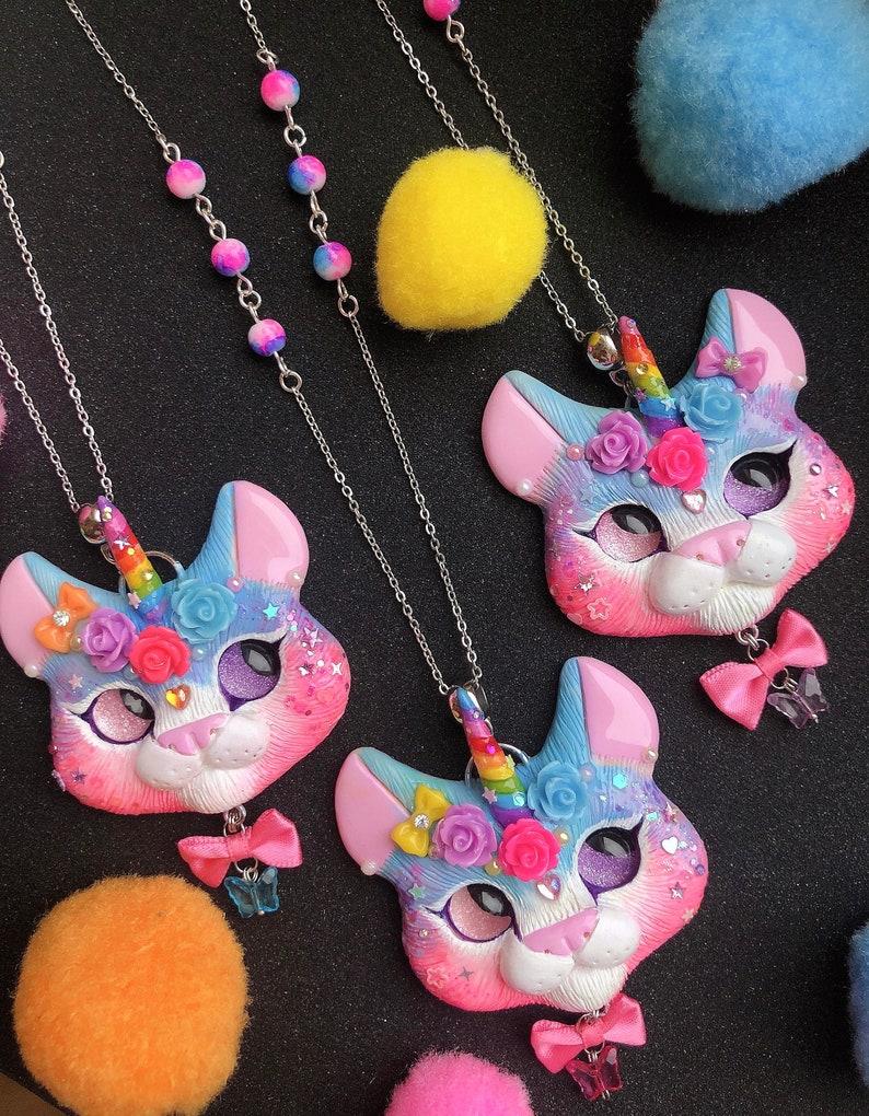 Ready to ship Blue Pink Unikitty Cat unicorn kawaii sweet style necklace