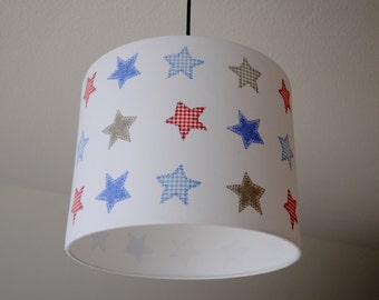 Lampshade 'Stars' (red-blue)