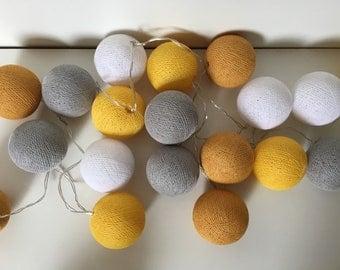 "LED Cottonballs fairy lights ""mustard yellow"""