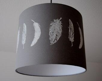 Lampshade Feathers Stonegrey