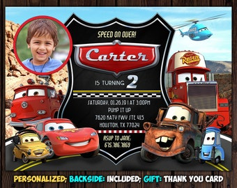 Cars Invitation Movie Birthday Party McQueen Photo Invite FREE Thank You Card
