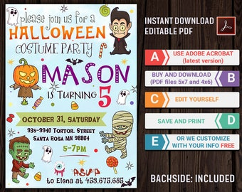 Halloween Invitation Birthday Invite Costume Party Instant Download Kids