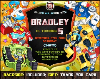 Rescue Bots Invitation Transformers Bot Birthday Personalized FREE Thank You Card