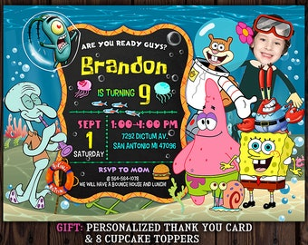 SpongeBob Invitation Birthday Invite Party Printable Digital