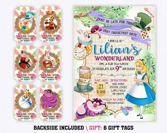 Alice In Wonderland Invitations Etsy