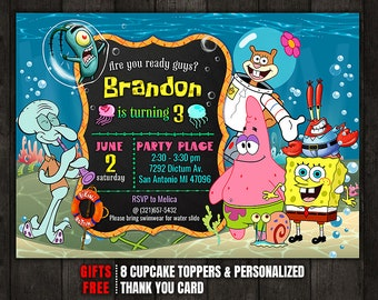 Spongebob invitation etsy spongebob invitation spongebob birthday invitation spongebob squarepants birthday invitation free thank you card cupcake toppers filmwisefo