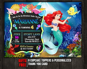 The Little Mermaid Invitation Disney Ariel Princess Birthday