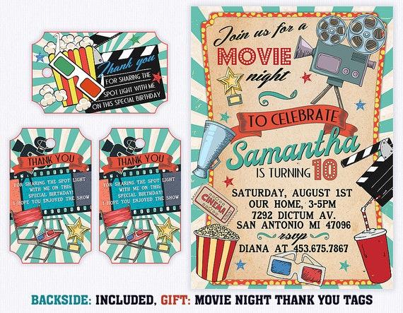 movie birthday invitation backyard movie night invitation etsy