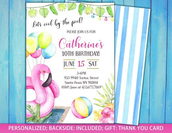Girl Pool Party Invite Flamingo Invitation Birthday Swimming Invitations Free Thank You Card