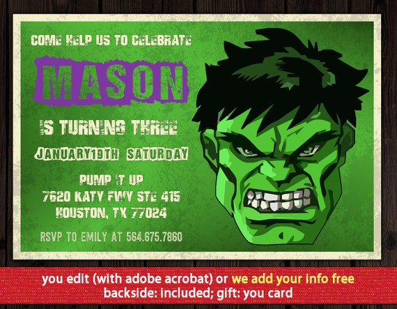 Hulk Invitation FREE Thank You Card Birthday