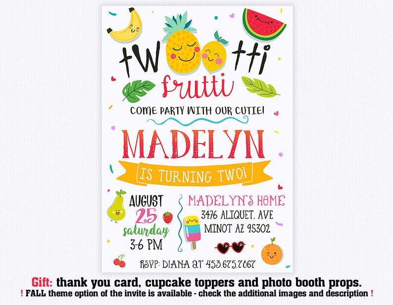 Twotti Frutti Birthday Invitation Invite Tutti