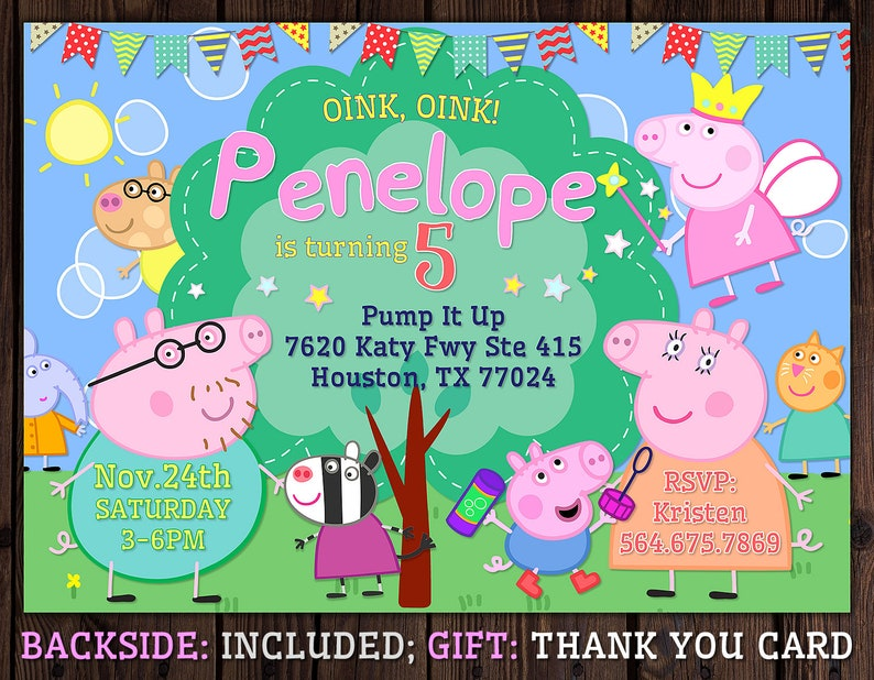 Peppa Pig Birthday Invitation Personalized