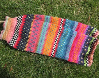 Colorful cuffs - legwarmers Gr. S/Meter - knee-length cuffs and Nordic Fair Isle patterns