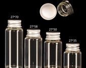 Glass Bottles 10 PCS Mini Glass Bottles Jewelry Packing Cute Bottles Aluminum Cover Screw Top Empty Jars Containers