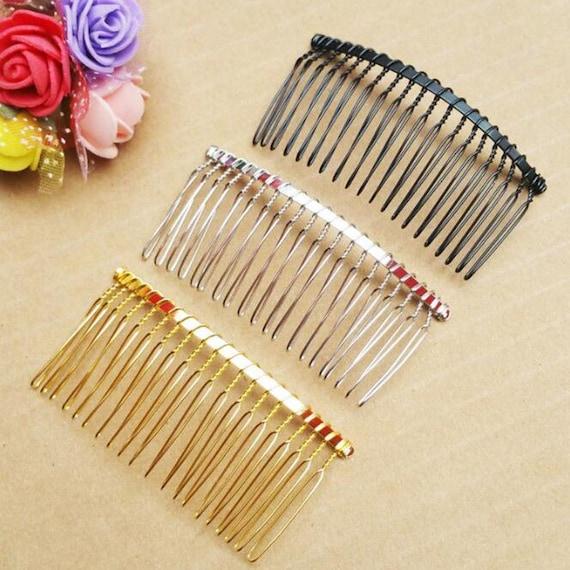 40pcs Metal Side Combs Sidecomb Hair Slides DIY Hair Jewelry Veil Fascinator