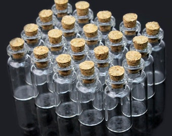 10pcs Transparent Mini Empty Glass Bottles With Cork Wishing Message Vials Jars Container Gift 2ml Home Decoration Accessories--16 x 35 mm