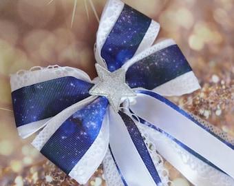 Blue galaxy printed with Star Blue and white lolita harajuku romantic anime princess fashion kawaii hairbow Made to Order Hair bow