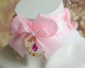 Made to Order - DDLG collar - Pink moonlight - lolita cosplay kawaii kittenplay kitten play mdlg cgl daddy kitten pet play choker Nekollars