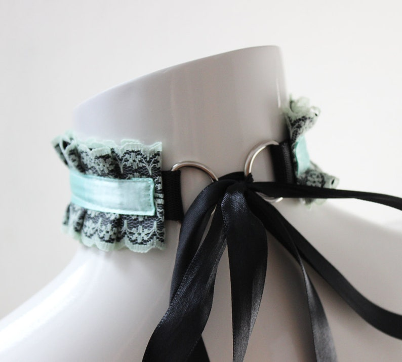 Made to Order white /& green cute kitten play gear Laced mint berry Kittenplay bdsm proof collar ddlg petplay choker w leash ring