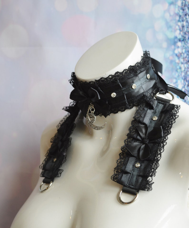 Witchy Night Made to Order bdsm proof kittenplay gear ddlg kink girl boy by Nekollars Goth Kitten play collar and cuffs set w Gems