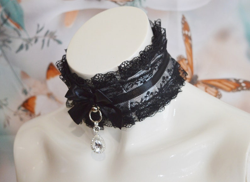 Made to Order Black and grey lace goth steamgoth  gothic kitty vampire choker by Nekollars Victorian Gem Gothic Collar