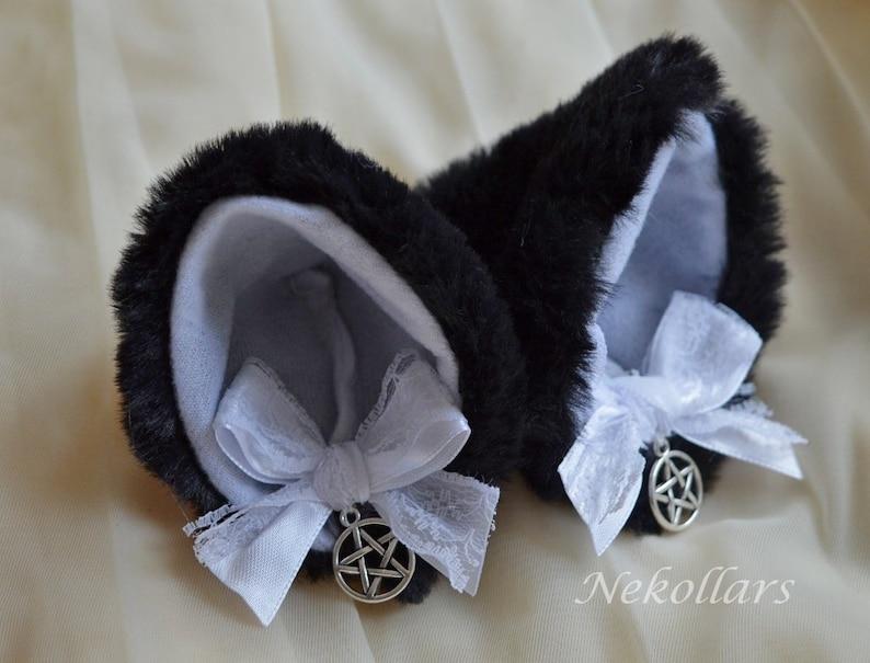 Kitten play clip on cat ears with ribbon bows MtO black white w pentagram neko lolita cosplay costume kitten play gear accessories