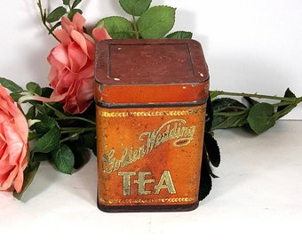 VINTAGE TIN Golden Wedding Tea Tin from Kansas City 1930s  Collectible Tin