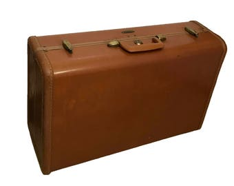 Vintage Suitcase With Key Mid Century Hard Shell Brown Faux Leather Samsonite Locking Suitcase Vintage Luggage Retro Brown Locking Luggage