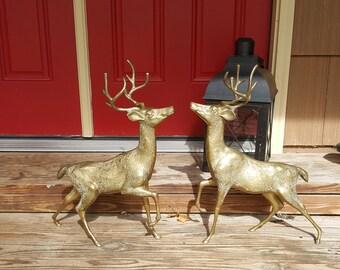"22"" LARGE BRASS DEER Figurine Deer Sculpture Man Cave Fathers Day Gift Wedding Woodland Event One Christmas Deer Reindeer w Antlers"